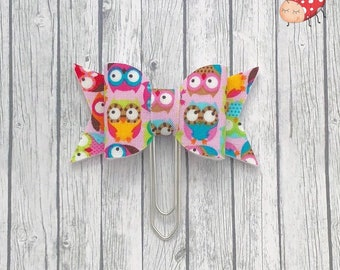 Bow planner clip, owl bow Paperclip, fabric bow, paperclip, planner clips, planner gift, organiser accessory