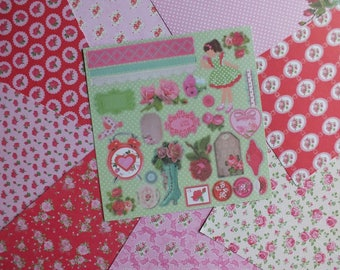 Lot 9 sheets double sided for scrapbooking and cardmaking VINTAGE SHABBY CHIC size 25 cm x 25 cm