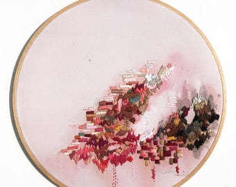 Original Swept Up Abstract Mixed Media Acrylic Painting Large Hoop Textile Needlework Pink Fabric Artwork Wall Art Home Decor