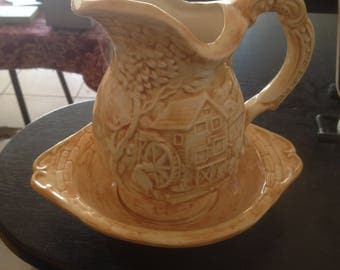 1989 JW signed Australian pottery jug and bowl