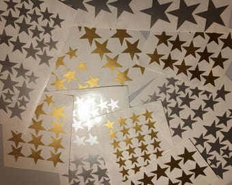 Over 200 Wall Stickers/Decals 1 Off Listing - Off Cuts Mixed Gold & Silver Stars, HALF PRICE!! Nursery Wall Stickers Art Decor Star Sticker