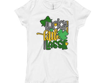 Lucky little lassie irish st patrick's day four leaf clover Girl's T-Shirt