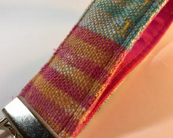 Key Fob Wristlet Handwoven Hand Dyed Key Clip Great Gift for Her Back To School