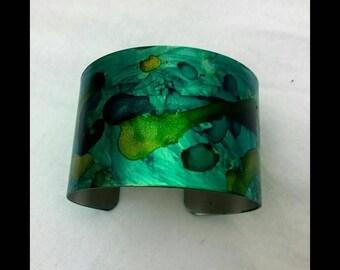 Cuff Bracelet - Ocean Blue Hand Painted
