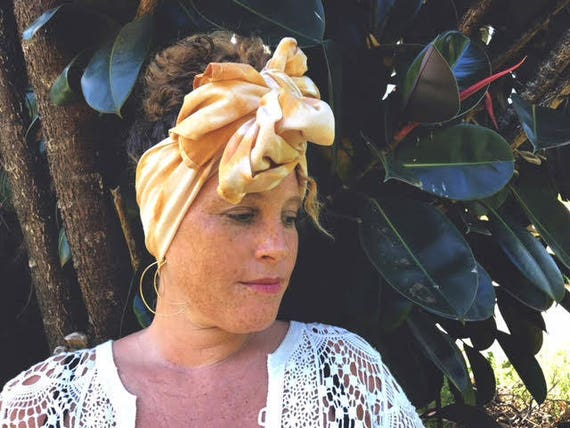"""Natural Plant Dyed Golden Yellow Organic Cotton Wrap, 18x72"""", Pattern Options"""