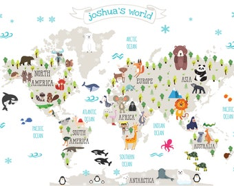 World map poster kids etsy nursery printable animal world map kids world map poster digital print gumiabroncs Image collections