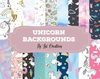 Unicorn digital paper, unicorn digital background paper: 18 images, 300 dpi. JPG files