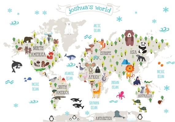 Nursery Printable Animal World Map Kids World Map Poster - Kids world map poster
