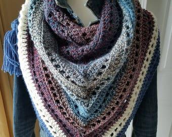 Tetons- crochet triangle shaped bandana style scarf with three tassels