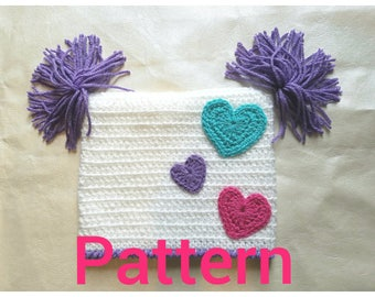 Easy to Crochet kids hat with heart details- PATTERN
