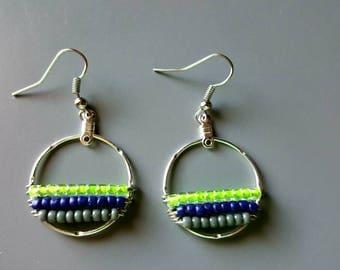 Medium Seahawks Boho Round Drop Earrings