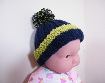 knit/crochet  baby hat with pom pom and ribbon tie booties-NEW ITEM!!!
