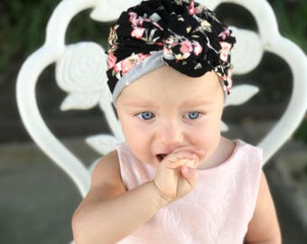 Black floral, baby turban, knot turban, baby hat