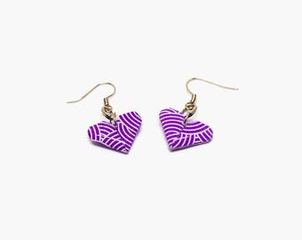 Hook earrings, heart hook earrings, heart earrings, origami earrings, paper earrings, origami jewelry, purple earrings,