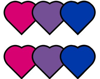 """Bisexual Hearts (set of 5 stickers) 2""""x2"""""""