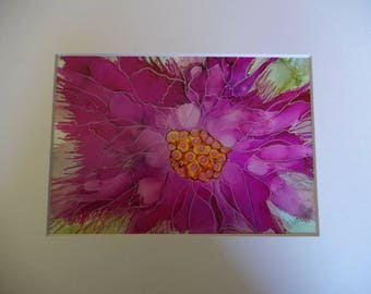 One of a kind Alcohol Ink Paintings. Custom orders welcome. All unique Vibrant pink floral