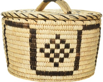 """Vintage Papago Indian Basket With Lid 10.5"""" Wide"""