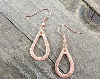 Copper Textured Earrings Handmade // Raw Copper Earrings