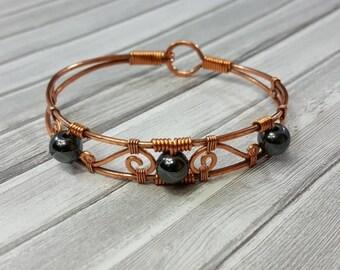 Hematite Bracelet // Raw Copper Bracelet