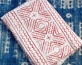 """African Mud Cloth Fabric, Mudcloth, Red and White Bogolan Throw,  58"""" x 44""""  #237RBWB"""