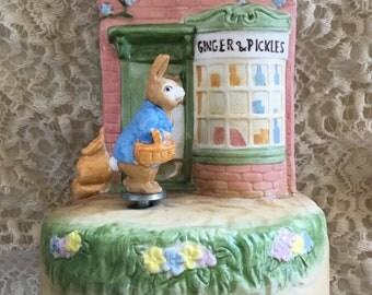 Schmid Beatrix Potter Ginger & Pickles Music Box 1980's