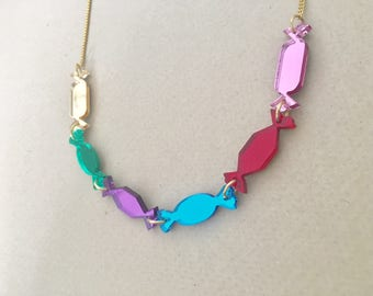 Sweets Acrylic Necklace In Multicolour Mirror