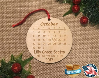 Personalized Baby Calendars Ornament *** Baby Christmas Ornament *** Baby's First Christmas *** Newborn Christmas  *** Calendar Ornament