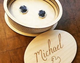 Cuff link or jewelry box - custom - birch ply - groomsman gift