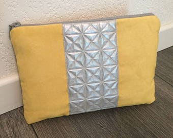 Yellow suede and faux silver leather evening clutch