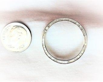 "Estate 14k White Gold LARGE Baguette Diamond Open Circle Round Pendant 1"" dia. for Necklace Chain Marked 14 k kt 14kt Big Statement Vintage"