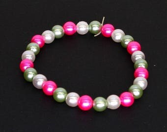 Pink Green and White Pearlescent elastic Beaded Bracelet