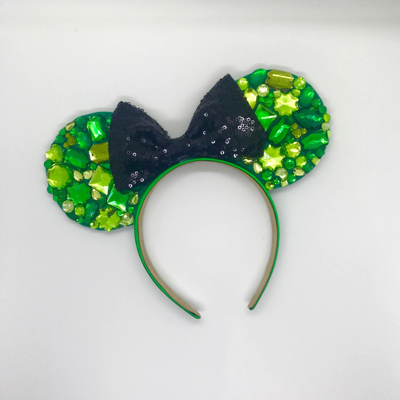 Headbands Turbans Halo I Tie Headband Black Oogie Boogie Inspired Green Rhinestone Mouse Ears With Sequin Bow