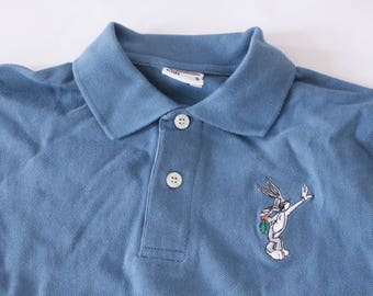 Vintage 90s Childrens Kids Bugs Bunny Looney Toons Teal Polo Top Small