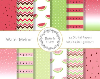 Watermelon digital paper - Tropical clipart - Scrapbook paper, Watermelon Digital Paper, Tropical Digital Paper, Commercial use