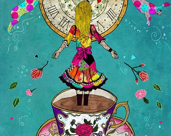 ALICE'S DREAM 8x11 Fine Art Print // Fantasy Art Print, Whimsical Art, Illustration, Surreal, Alice in Wonderland Inspired, Tea, Rabbits