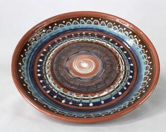 Ceramic Pottery Plate Platter Boho Bohemian Mandala Motif