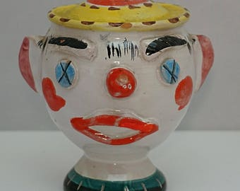 Italian MAIOLICA Faience C1930s Clowns Head Money Box TIN GLAZED Pottery