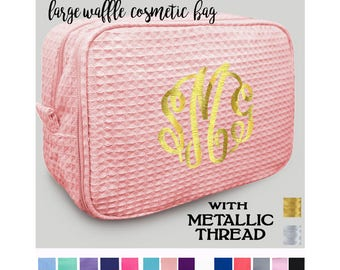 METTALIC THREAD Monogrammed  Deluxe 2 Part Large Waffle Cosmetic Case - Free Ship