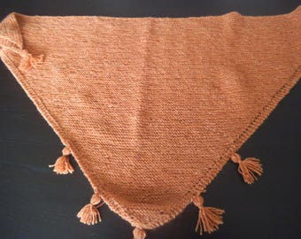 Caramel colored hand knitted scarf