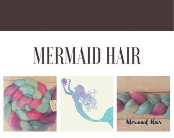 Mermaid Hair, Hand-dyed Merino Combed Top, 100% Wool, Spinning and Felting Fiber