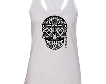 Sugar Skull Tee, women's clothing, goth, workout tank, muscle shirt, sugar skull, heavy metal tee, punk clothing, tattoo shirt, party