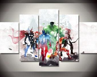 5 Panels Marvel Avengers Canvas Art Multi Grouped Art Work Thor Ironman Hulk