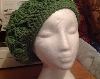 chunky knit warm beret, beanie hat, hand made, hand crochet hat in sage green