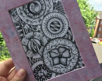 20cm x 15cm original mandala illustration