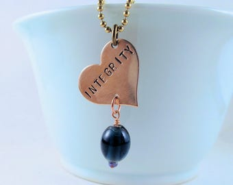 Undertale Necklace:  Integrity with Blue Glass Bead