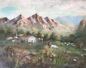 Mountain Village Natural Oil Painting Landscape by Naci Caba