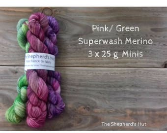 Superwash Merino/Nylon 80/20 Sock yarn Minis 3 x 25 g Pink / Green No.2.
