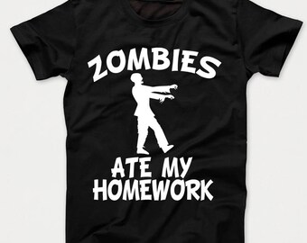 Zombies Ate My Homework Funny Zombie Kids T-Shirt