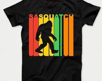 Retro 1970's Style Sasquatch Silhouette Bigfoot Kids T-Shirt