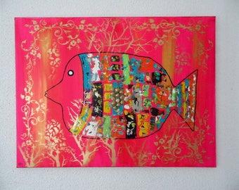 "Acrylic painting ""Rainbow fish"""